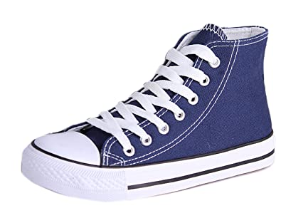 Honeystore Unisex's Schnürung Leinwand Flache High-Cut Schuhe Erwachsene Sneaker Weiß 44 EU dJN14N