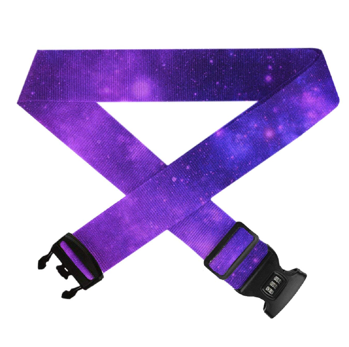 Brilliant Purple Galaxy 1 PC Durable Suitcase Straps TSA Approved Lock for Travel Bag Accessories GLORY ART Adjustable Travel Luggage Belts
