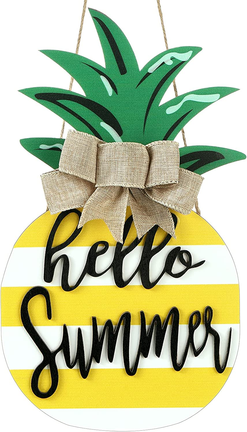 Jetec Pineapple Sign Wood Door Hanging, Rustic Hello Summer Plaque Porch Decor, Wooden Summer Sign Pineapple Shaped Wall Decor with Burlap Bow for Summer Home Farmhouse Porch Garden Yard