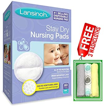 Care mommy Almohadillas de lactancia desechables, cajas 60 piezas, gratis 3 washcloths (yellow