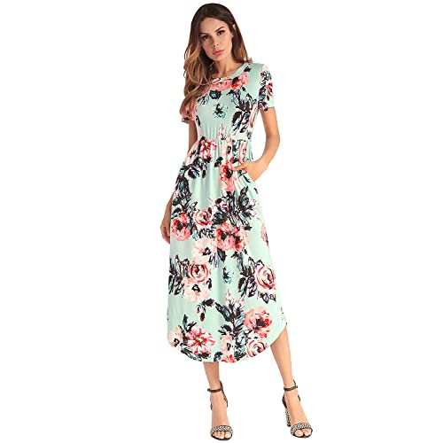 Ruiyige Women Elegant Floral Print Summer Beach Long Maxi Dresses with Pockets