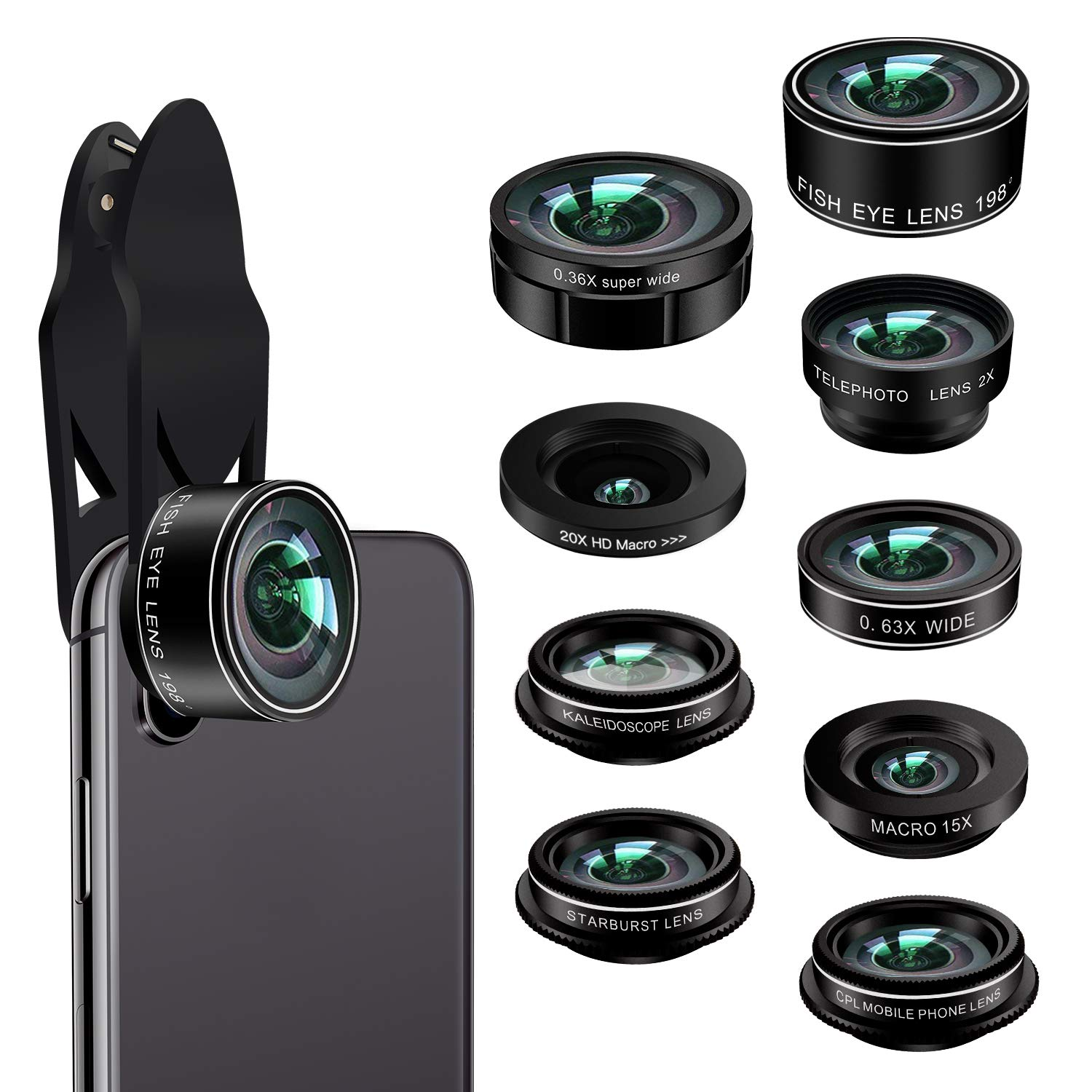 Phone Camera Lens Kit,9 in 1 Kaiess Super Wide Angle+ Macro+ Fisheye Lens +Telephoto+ CPL+Kaleidoscope+Starburst Lens for iPhone X/8/7/6s/6 Plus, Samsung,Android Smartphones(Matte Black) by Kaiess (Image #1)