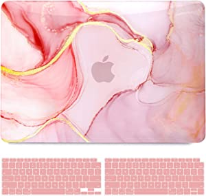 B BELK Compatible with MacBook Air 13 inch Case 2020 2019 2018 Release, MacBook Air Case 2020 with Touch ID (A2337 M1 A2179 A1932), Laptop Plastic Hard Shell Case + 2 Keyboard Covers, Pink Gold Marble