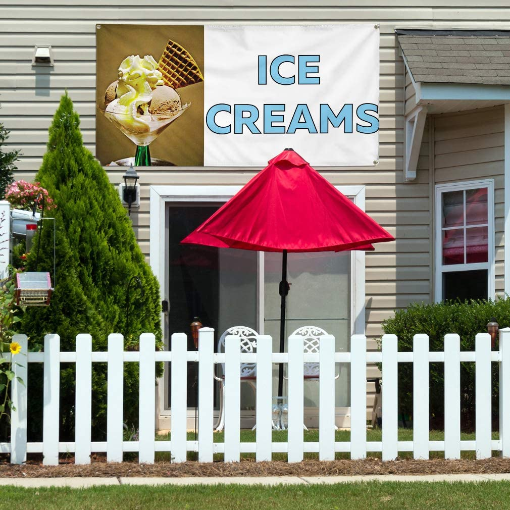 Vinyl Banner Multiple Sizes Ice Creams Outdoor Advertising Printing Retail Outdoor Weatherproof Industrial Yard Signs White 10 Grommets 60x144Inches