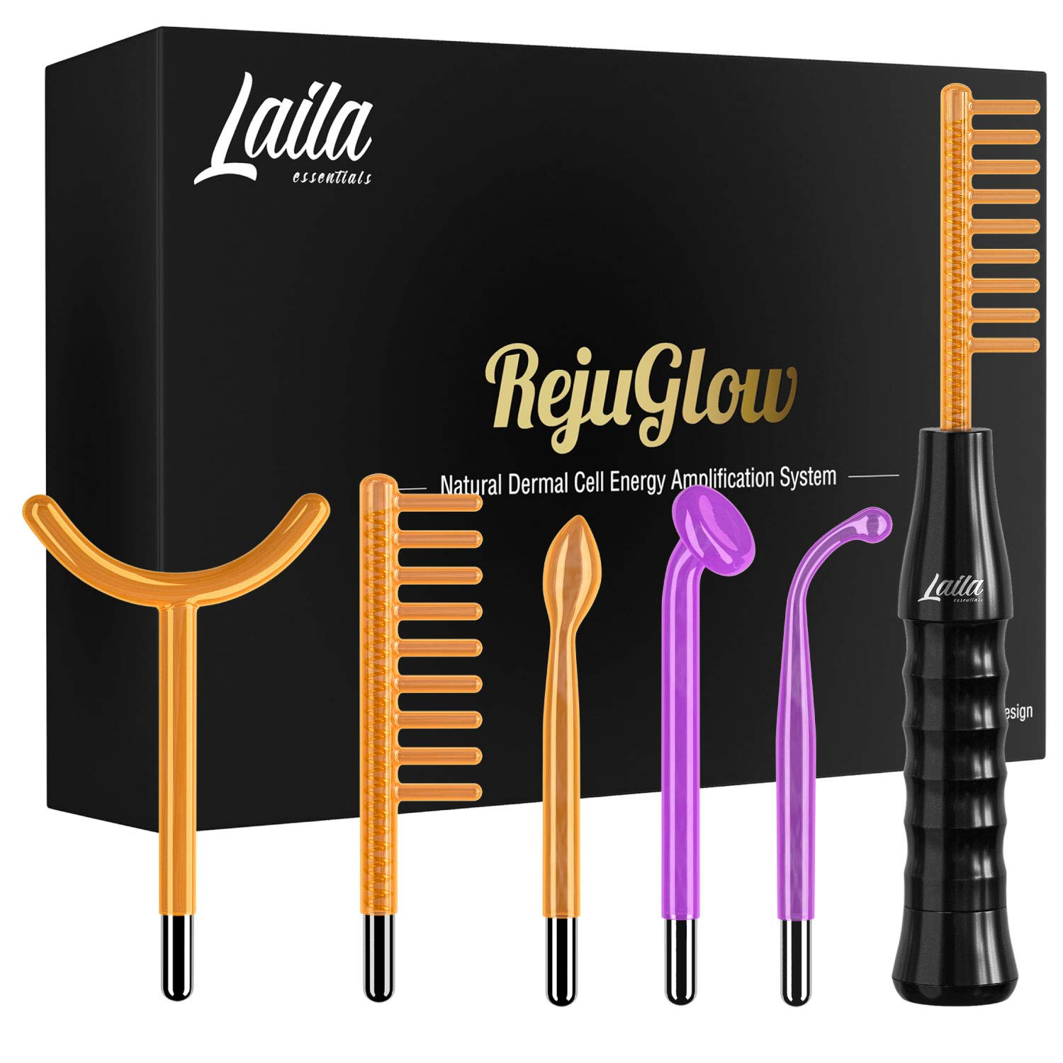 Laila Essentials Portable Handheld High Frequency Skin Therapy Wand Machine w/Neon - Acne Treatment - Skin Tightening - Wrinkle Reducing - Dark Circles - Puffy Eyes - Hair Follicle Stimulator