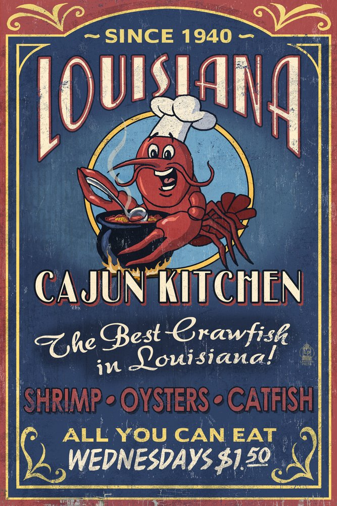 Amazon.com: Louisiana   Cajun Kitchen Crawfish Vintage Sign (9x12 Art  Print, Wall Decor Travel Poster): Posters U0026 Prints