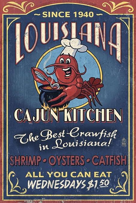 Elegant Louisiana   Cajun Kitchen Crawfish Vintage Sign (12x18 Art Print, Wall Decor  Travel Poster