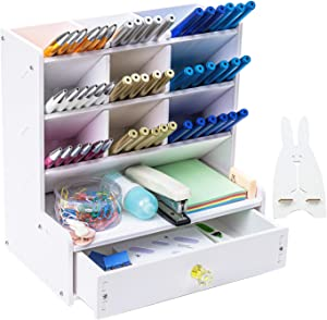 Ctcwsh Wooden Desk Organizer, Multi-Functional DIY Pen Holder Box, Desktop Stationary, Easy Assembly,Home Office Supply Storage Rack with Drawer (White)