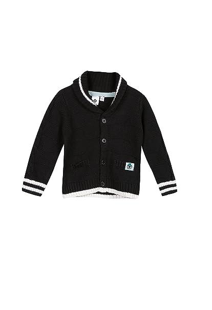 Grain de Blé Cardigan Tricot Fantaisie Noir, Chaleco de Traje para Bebés, Negro 02