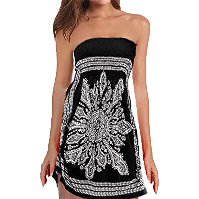 QegarTop Women Coverup Summer Strapless Beach Dress Swimwear Boho Bathing Covers at Women's Clothing store