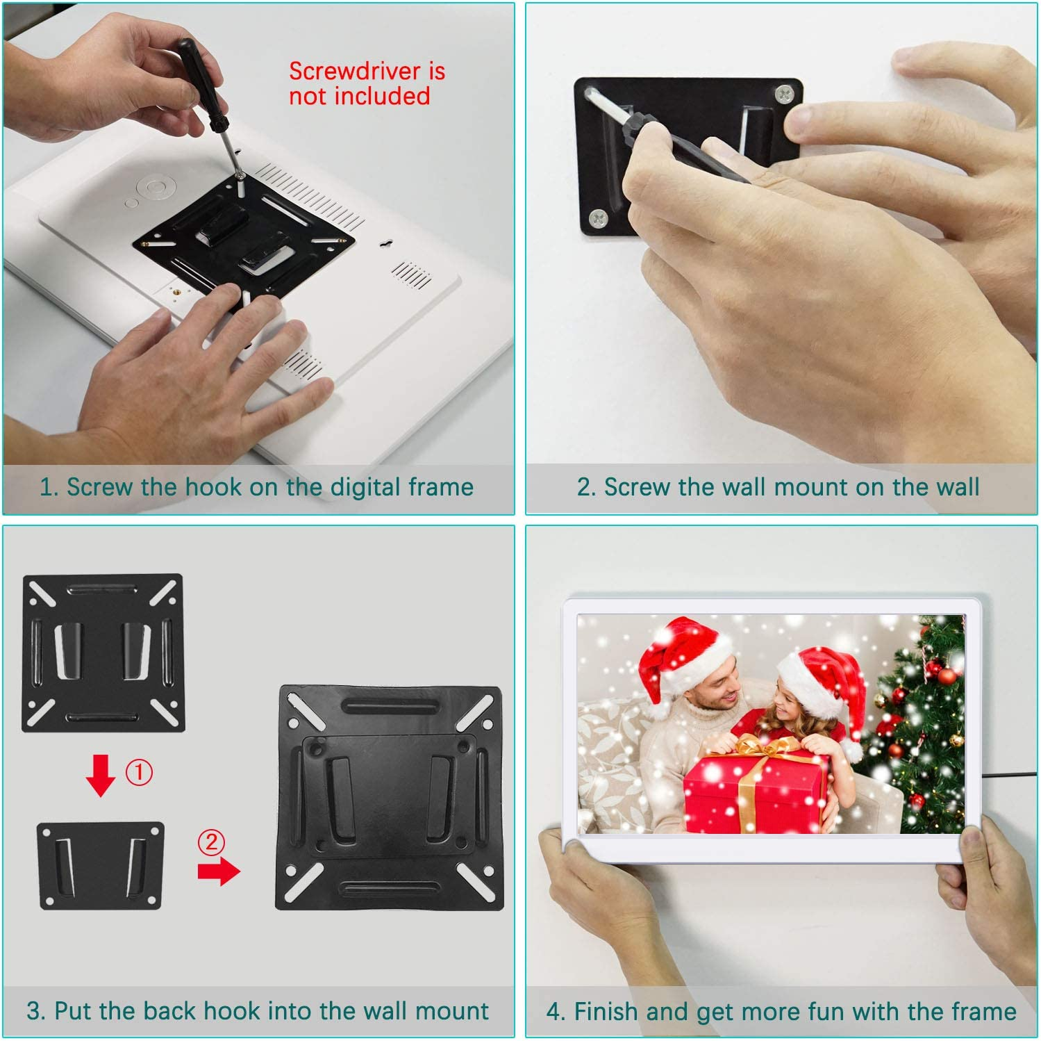 Auto Play Photo//Video//Music Auto Turn On//Off Include 32GB SD Card Photo Auto Rotate Digital Picture Frame 10.1 Inch 1920x1080 Motion Sensor 16:9 IPS Screen Digital Video Frame Background Music