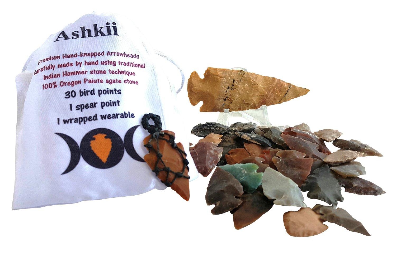Arrowhead Lot, 32 pcs Indian Agate Stone Arrowhead Set by Ashkii by Arrowheads by Ashkii (Image #4)