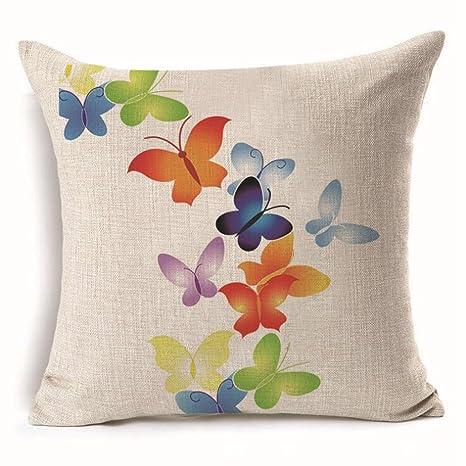 Aoligei Mariposa cojín almohada de lino 45 * 45 cm (incluida ...