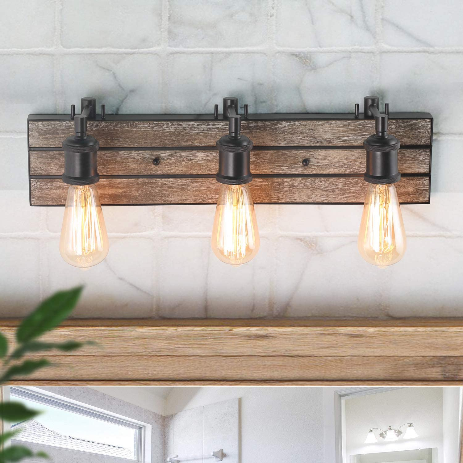 LOG BARN 3 Lights Farmhouse Vanity Light in Real Antique Wood and Dark Brown Metal Finish, 21.3 Wall Sconce for Bathroom