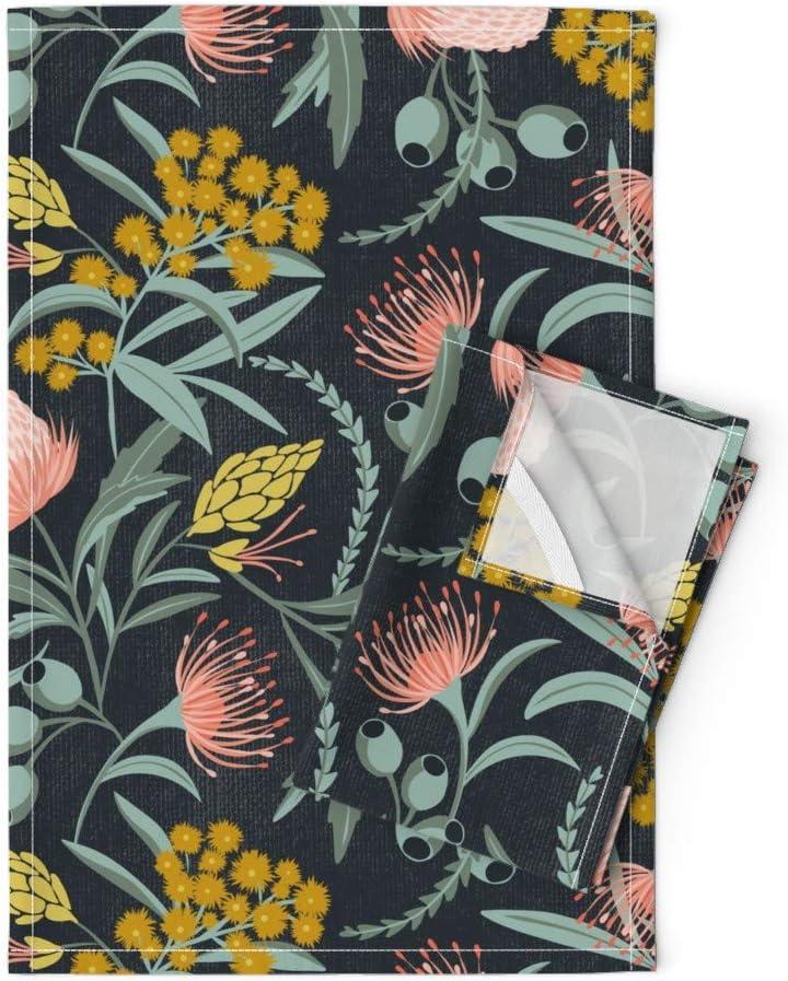 Linen Cotton Tea Towels Set of 2 Roostery Tea Towels Floral Watercolor Spring Autumn Bloom Garden Botanical Print