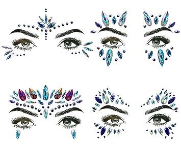 cd10fa80a Amazon.com : 4 Sets Mermaid Face Gems Rhinestone Tattoo Festival Jewels  Eyes Face Body Temporary Tattoos Glitter Temporary Tattoo Bindi Crystals  Rainbow ...