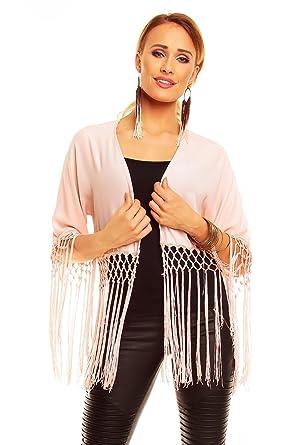 Ladies Chiffon Fringe Cape Bolero Shrug Jacket Cardigan Evening Size 8 10 12 14 16 (UK 8 to 14 fit, pink): Amazon.co.uk: Clothing