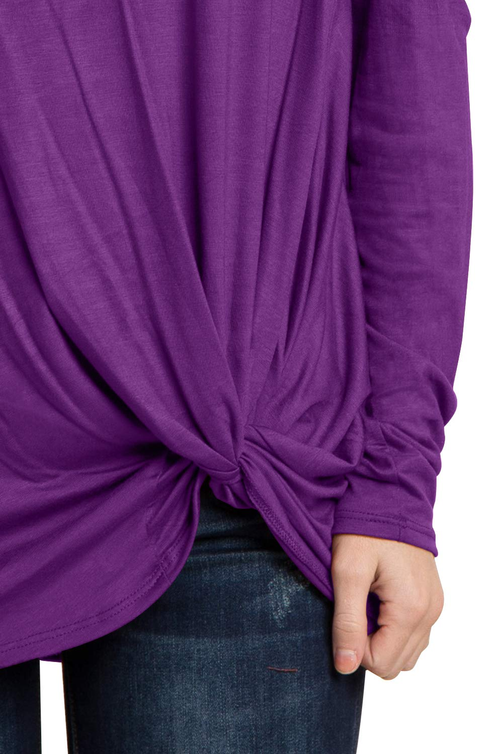 Eanklosco Women's Long Sleeve Cold Shoulder Cut Out T Shirts Casual Knot Tunic Tops (Purple, XL)