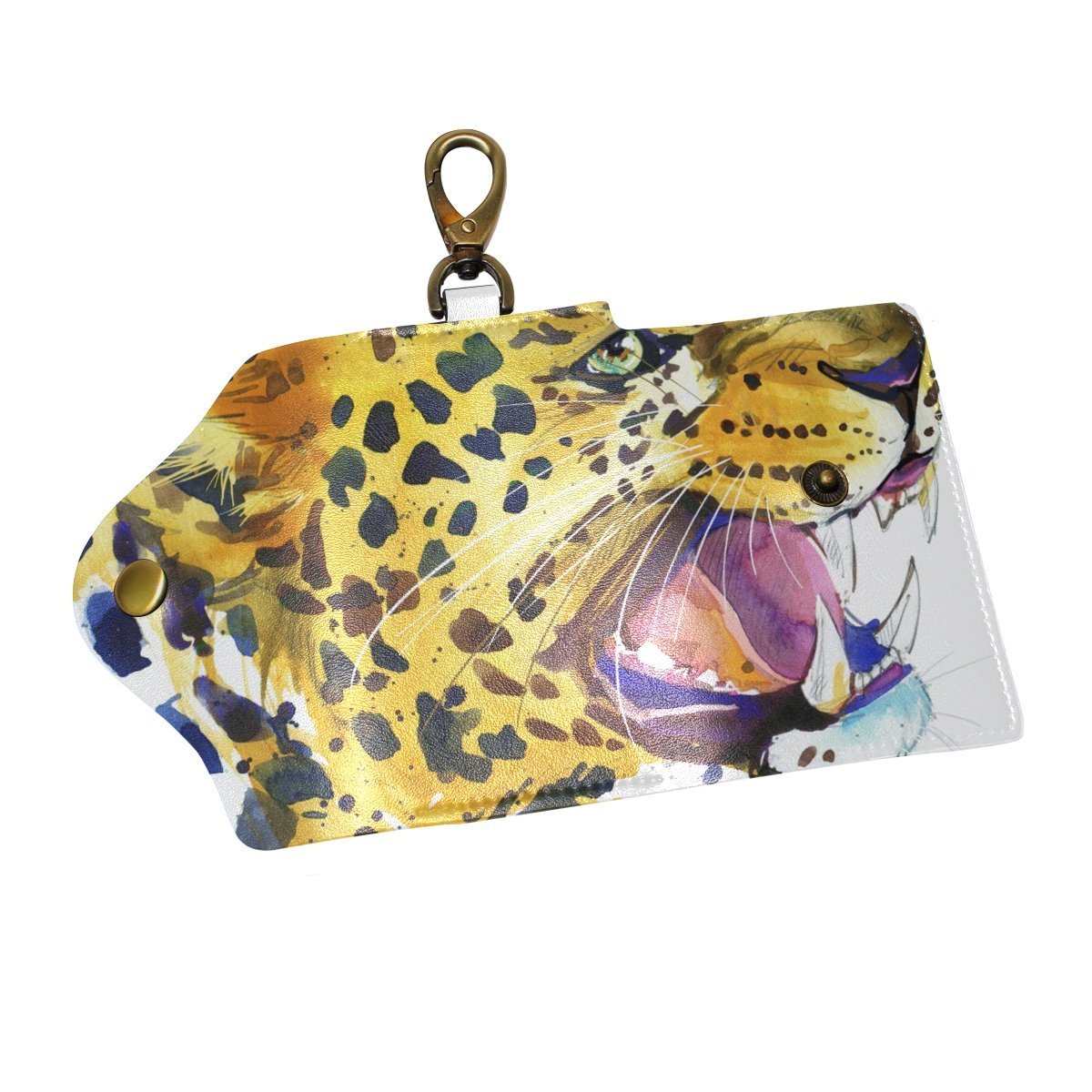 KEAKIA Leopard Growls Graphic Leather Key Case Wallets Tri-fold Key Holder Keychains with 6 Hooks 2 Slot Snap Closure for Men Women