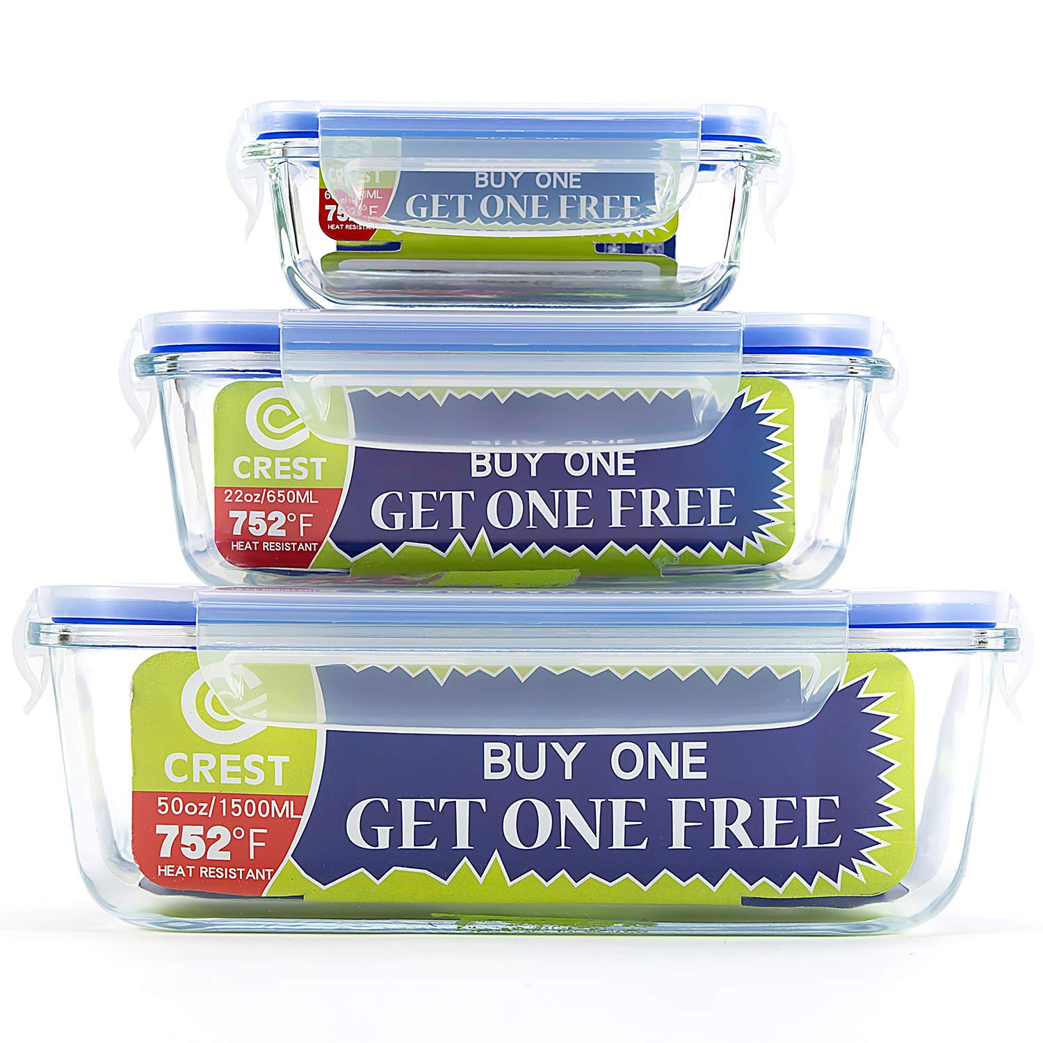 [Buy 1 get 1 Free] Glass Food Storage Container with Airtight Lids, Meal Prep Container, BPA Free, Microwave, Oven, Freezer, Dishwasher Safe
