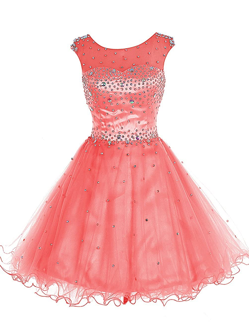 Coral TideClothes Women's Beaded Homecoming Dress Short Party Prom Gowns