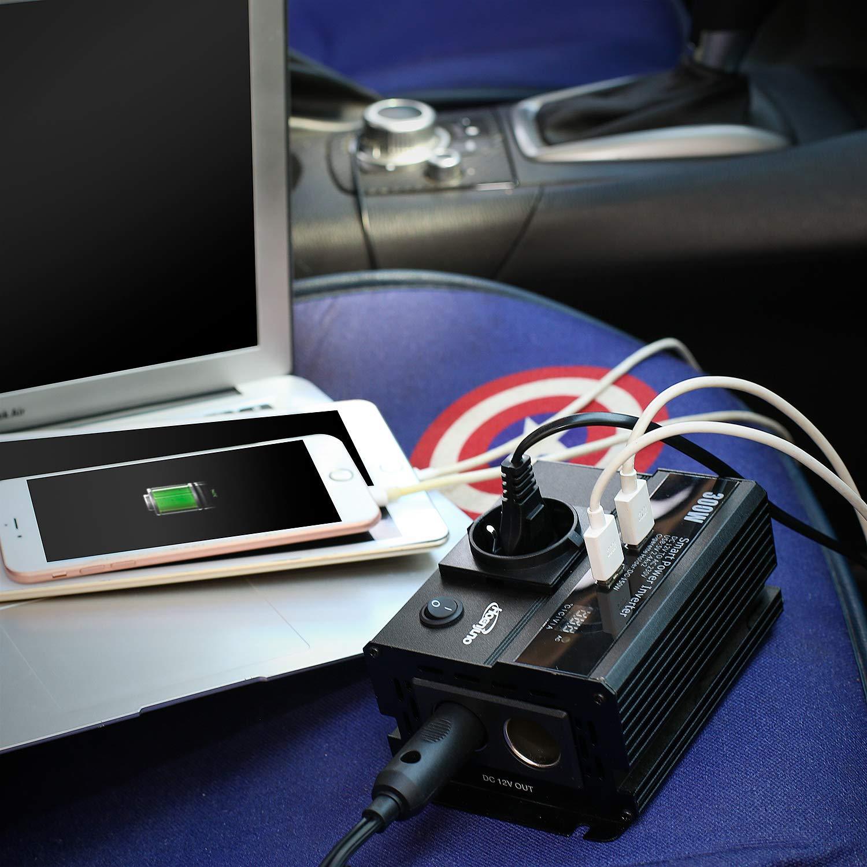 Hoenjuno 300W Convertisseur Transformateur Chargeur Pour Voiture 12V 220V-240V Onduleur DC//AC Avec Ports De Charge Usb Double 4.8A