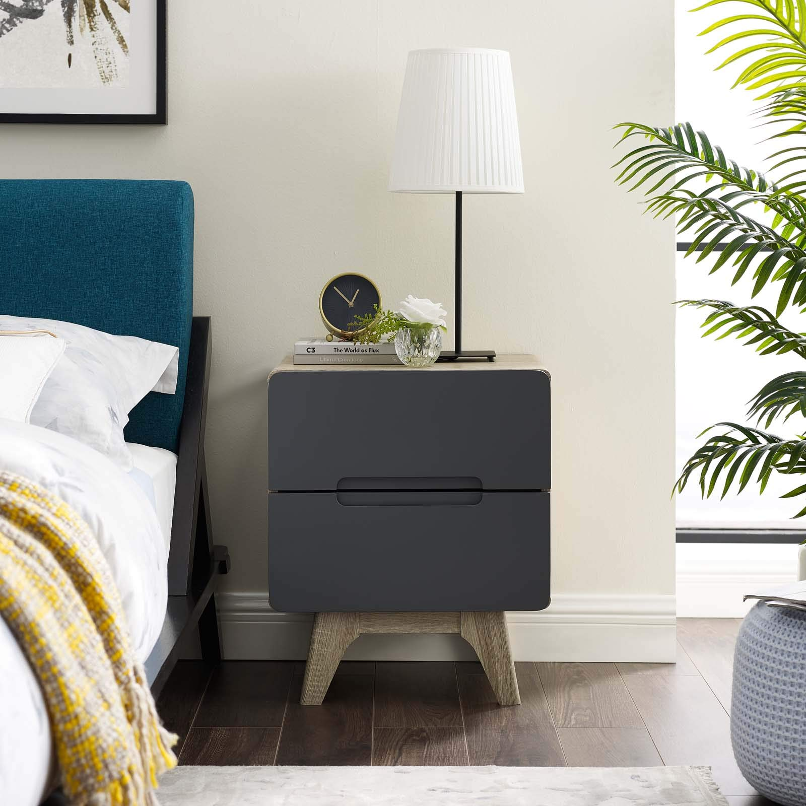 Modway Origin Contemporary Mid-Century Modern 2-Drawer Bedroom Nightstand in Natural Gray by Modway