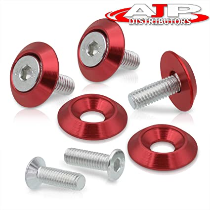 uxcell M3 Aluminum Alloy Fender Bumper Engine Dress Up Washer Red 20pcs