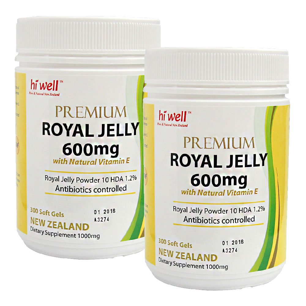 Hi Well Premium New Zealand Bee Royal Jelly 600mg with Natural Vitamin E 300 Soft Gels Immune Support Vitamins & Minerals (Pack of 2)