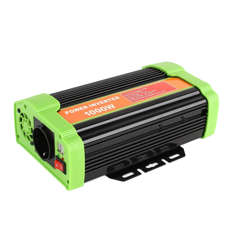 MVPOWER Inversor de Corriente, 12V 220V 1000W, Convertidor para Coche con 2 Puertos USB