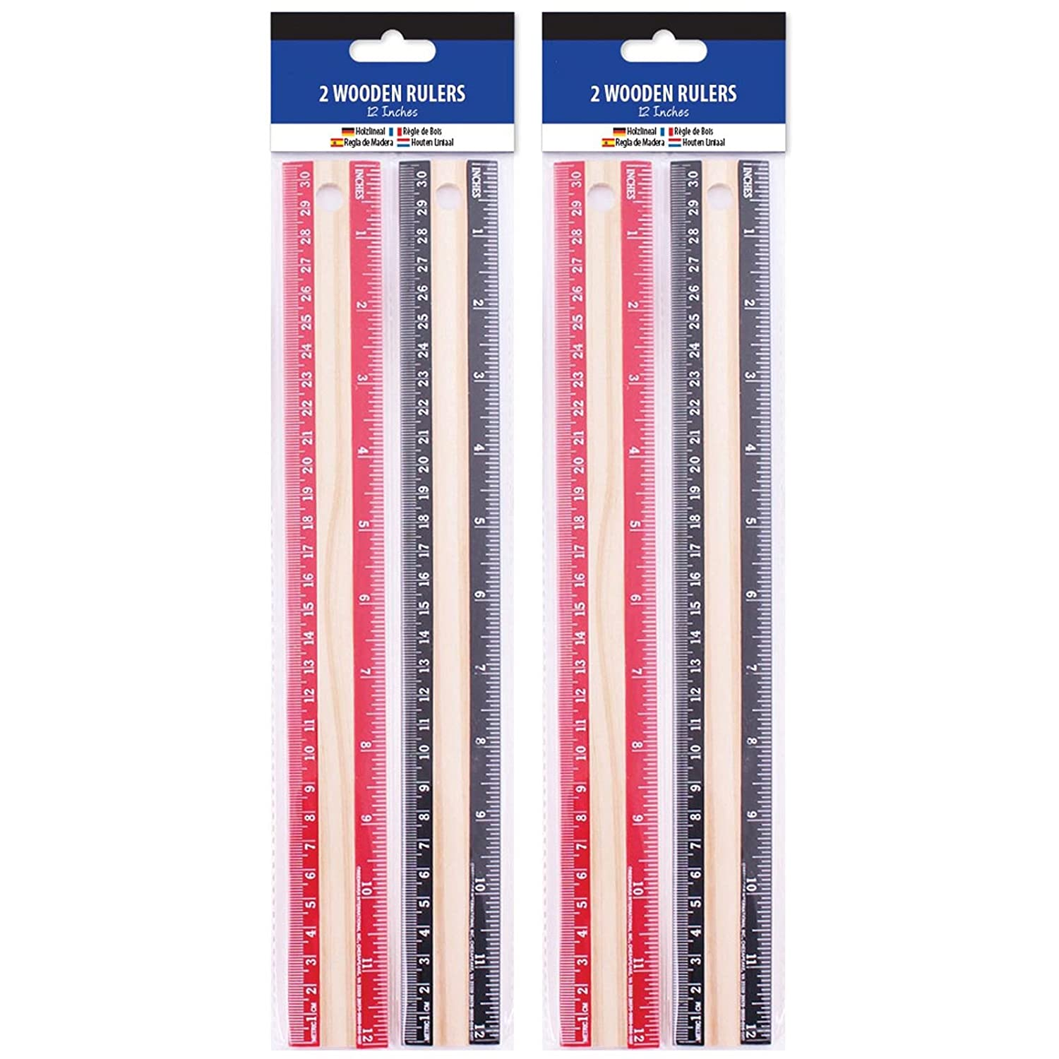 2 Pack 2 Pack Wooden Rulers 30cm 12 Long Classic Set Metric Wood Measure School Kids Office Stationary Crafts
