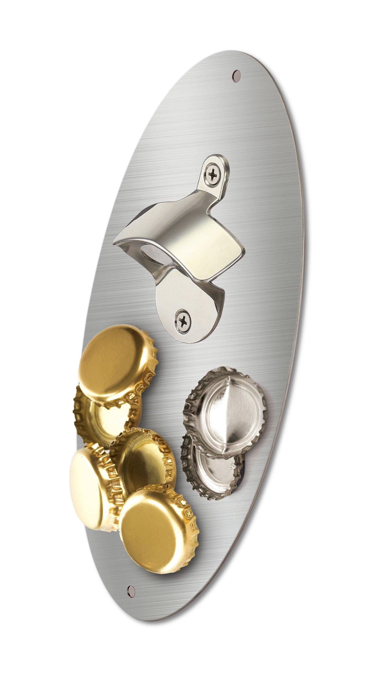 KOVOT Magnetic Bottle Opener With Magnetic Cap Catcher - 10'' x 5''