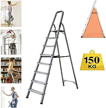 Escalera plegable de 8 peldaños, de aluminio resistente, compacta, portátil, con marco de seguridad antideslizante, ideal para el hogar/cocina/garaje, carga máxima de 150 kg: Amazon.es: Bricolaje y herramientas