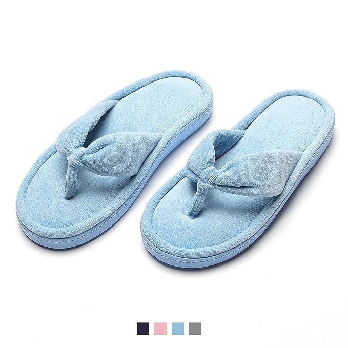 058e5f21e Cozy Spa Thong Flip Flops Soft Slide Flat Slippers for Women Great Gift  Blue S