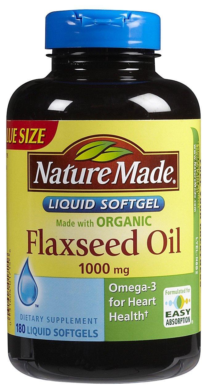 Nature Made Flaxseed Oil -- 1000 mg - 180 Liquid Softgels