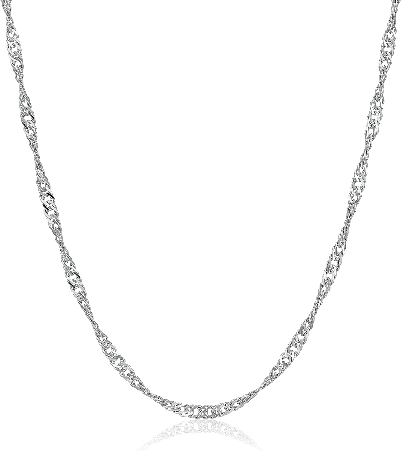 Amazon Com Sterling Silver Italian 1 4 Mm Singapore Chain Necklace 18 Jewelry