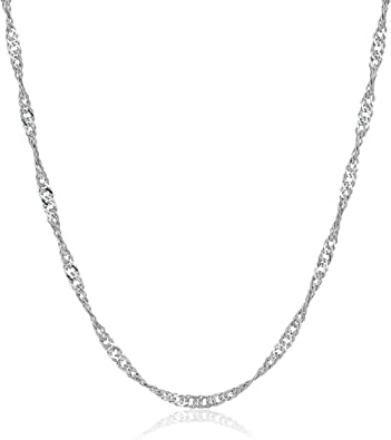 GENUINE Sterling Silver Singapore Chain Cubic Zirconia Crystal Delicate Necklace