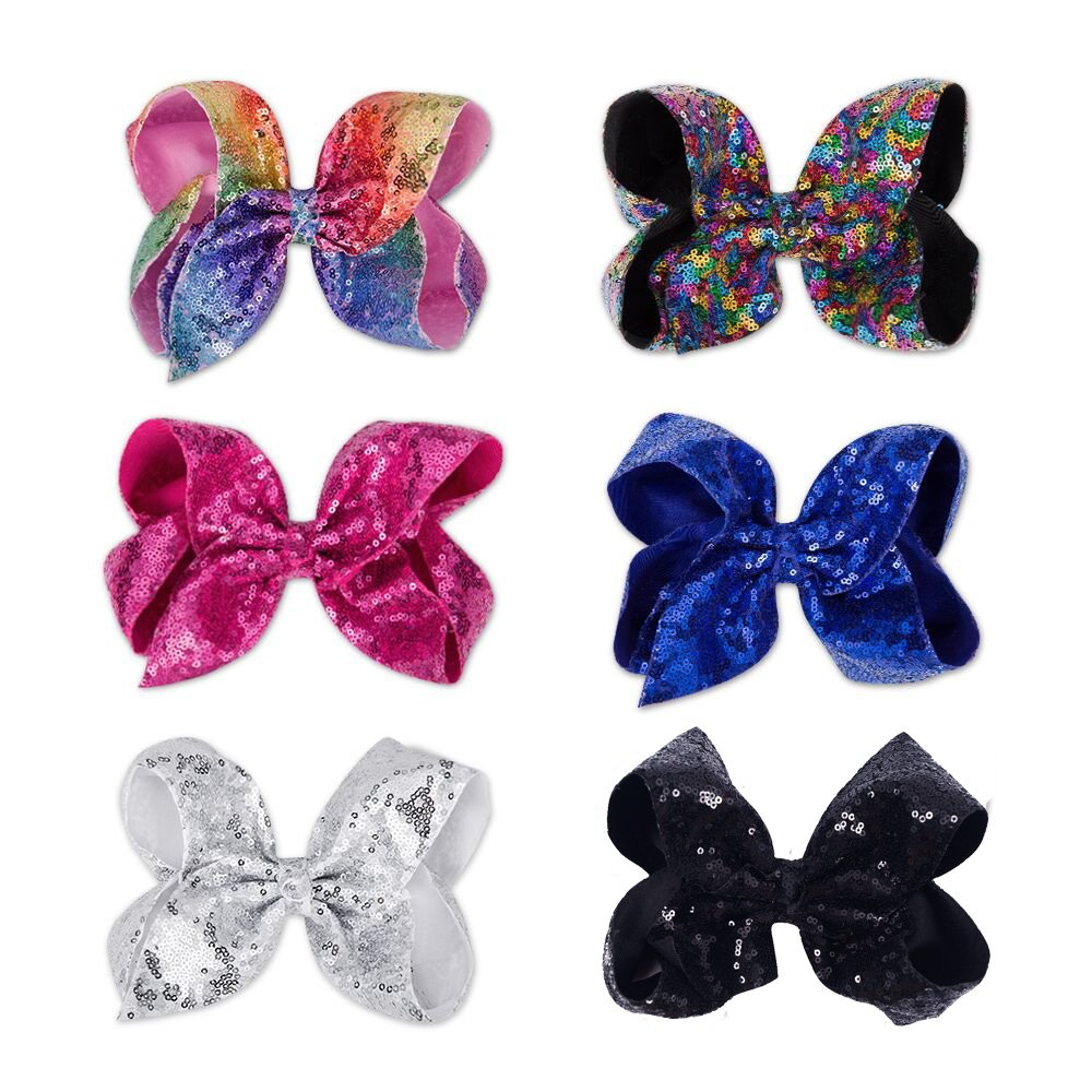CN Bow For Girls 8 Inch Baby Hair Bows For Girls Big Large Sequin Boutique Bows Alligator Clips For Teens Babies Children Newborn Infant Kids Teens Pack of 6