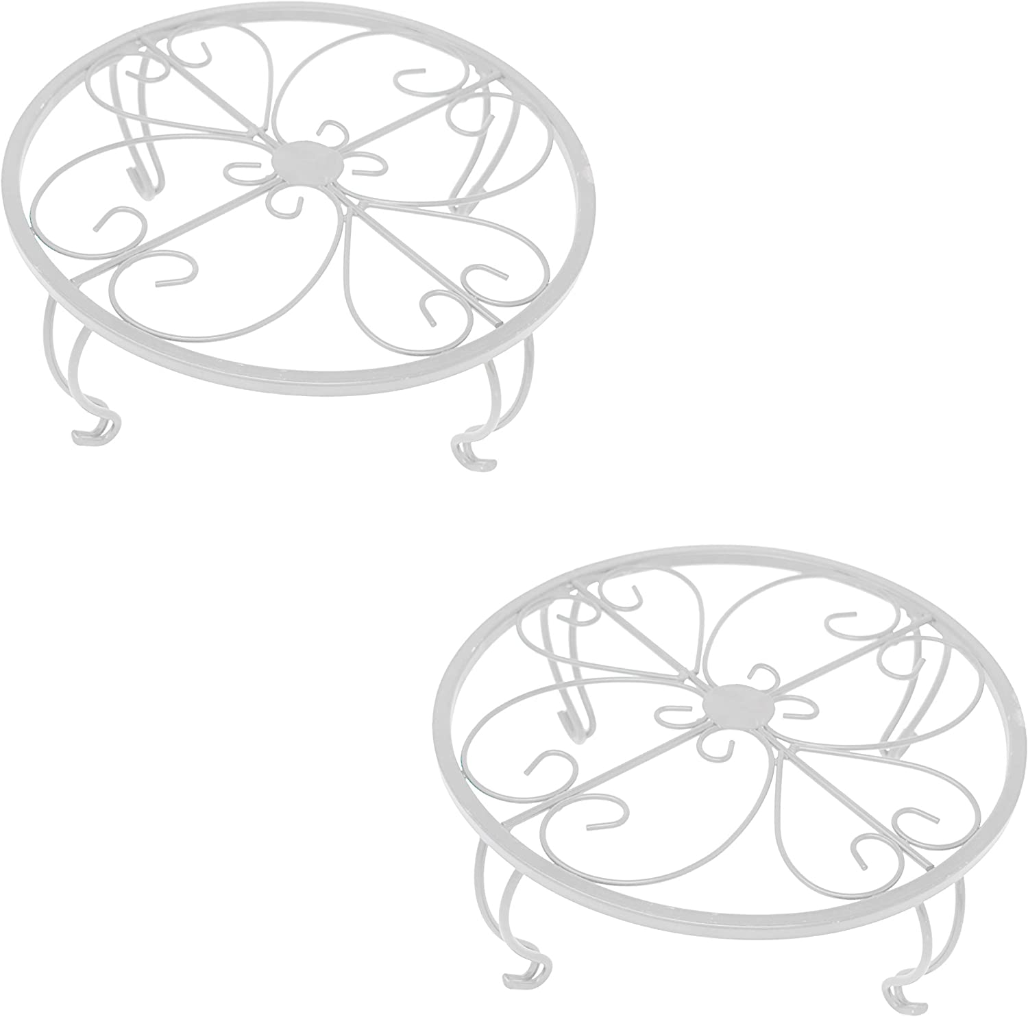 gb Home Collection Iron Potted Plant Stand, White, 2-Pack, Powder Coated Rust Resistant Metal, Decorative Indoor Outdoor Flower Pot Holder Saucer, Rustproof Round Heavy Garden Planter Support Rack