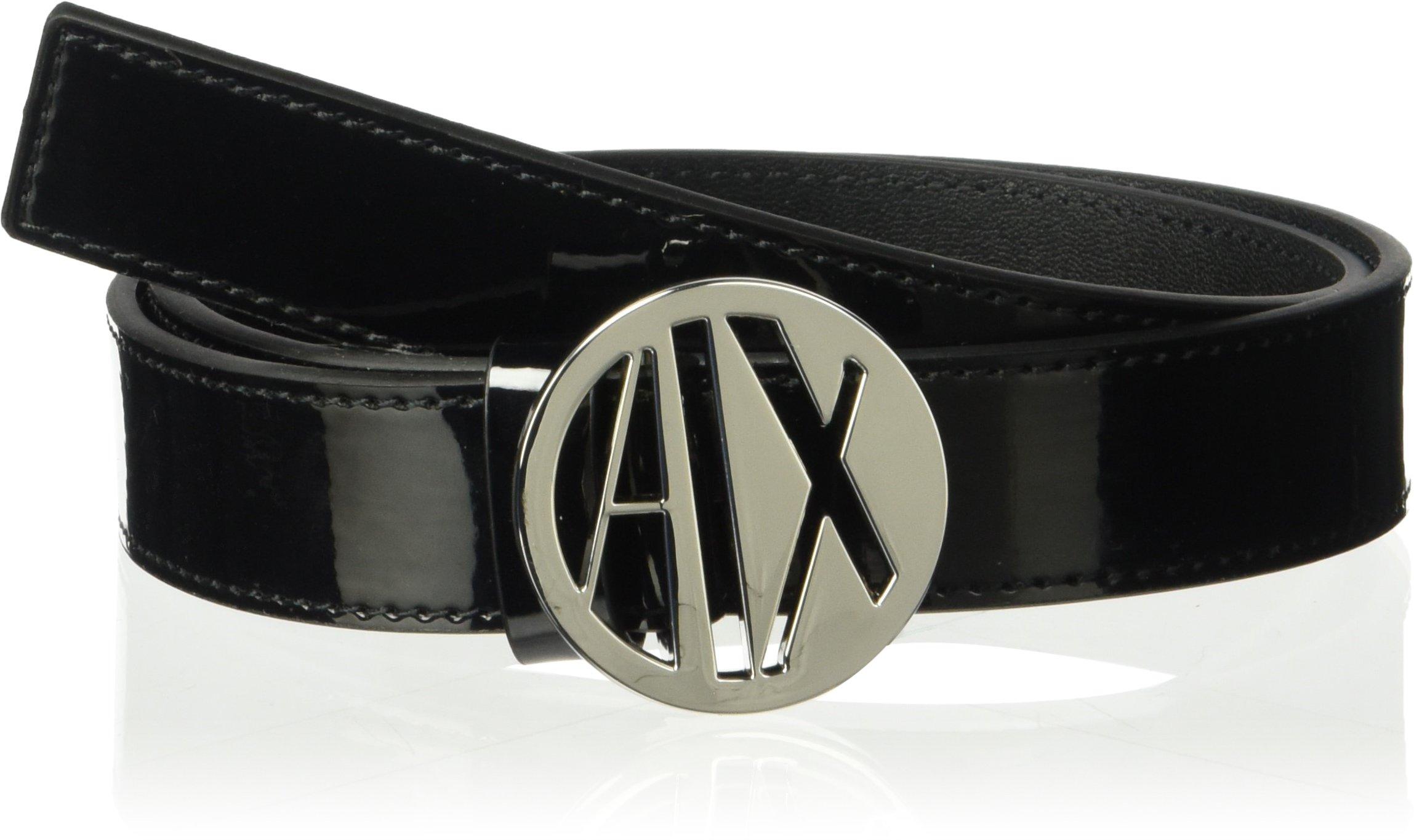 A|X Armani Exchange Women's Circular Logo Buckle Belt, Nero, M