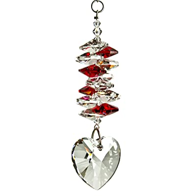 Woodstock Chimes CCHY Rainbow Makers Suncatchers Crystal Heart Cascade, Ruby : Wind Chimes : Garden & Outdoor