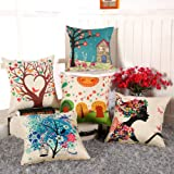 AEROHAVEN™ Set of 5 Abstract Decorative Hand Made Jute Throw/Pillow Cushion Covers - (Multicolor, 16 Inch x 16 Inch)
