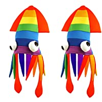 Tigerdoe Squid Hat - 2 Pack - Rainbow Squid Hat - Sea Animal Hat – Rainbow Costume Accessories - Crazy Hats