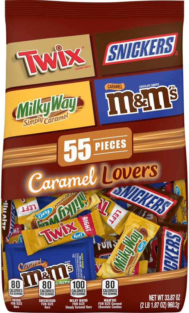 Chocolate Caramel Lovers (M&M'S, Snickers, Twix & Milky Way) Fun Size Candy Bars Variety Mix