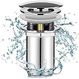 Linkax Tapones de Desagüe Lavabo Válvula Pop-Up Válvula Desagüe con Rebosadero Desagüe Universal Click-Clack