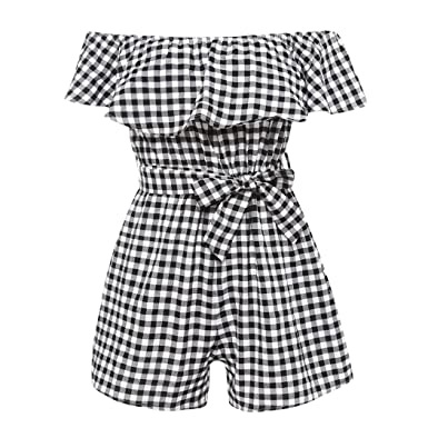 69953dbeef mioim Women Jumpsuit Off Shoulder Lattice Rompers Summer Strapless Beach  Playsuits  Amazon.co.uk  Clothing