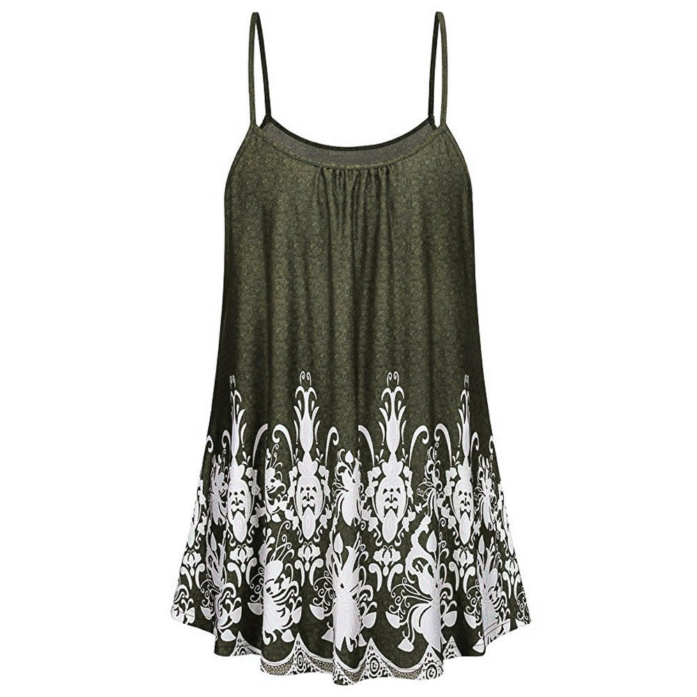 LEvifun Women Summer Camisole Cami Tops Lady Floral Tank Tops Spaghetti Strappy Vest Flowy Ruffle Crop Tops Blouse