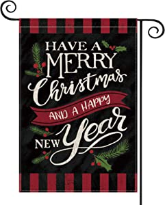 AVOIN Have a Merry Christmas and a Happy New Year Garden Flag Vertical Double Sized, Winter Holiday Party Berry Leaf Yard Outdoor Decoration 12.5 x 18 Inch