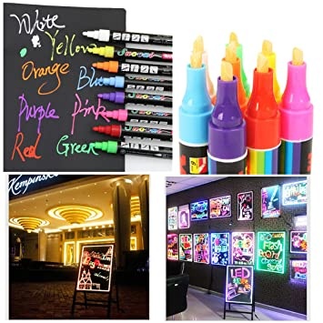 tpocean 8 colores 6 mm rotuladores de tiza líquida borrable Big rotuladores fluorescentes para LED Junta de escritura vidrio ventana arte