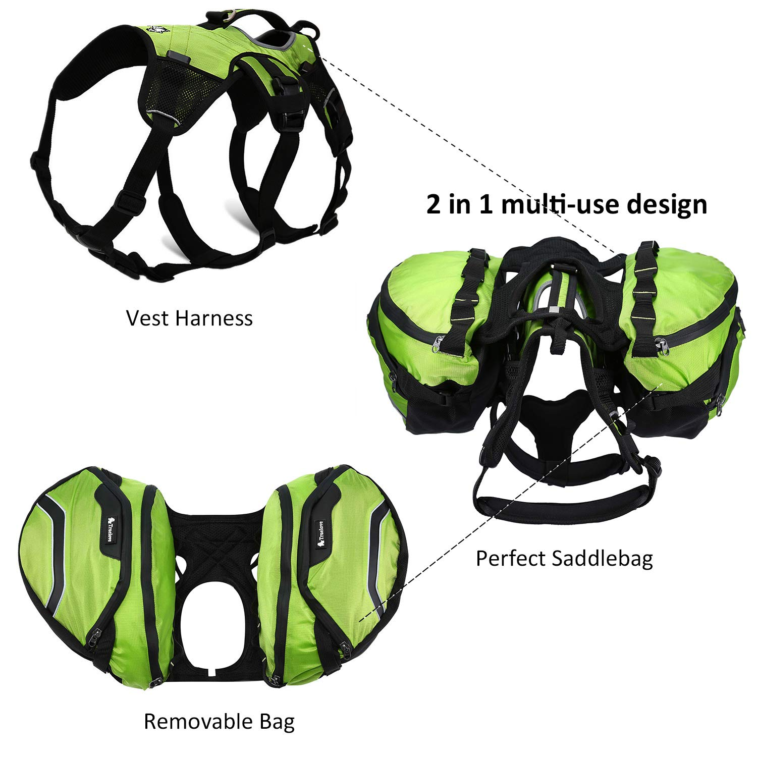 Pettom Dog Saddle Backpack 2 in 1 Saddblebag Vest Harness with Waterproof for Backpacking, Hiking, Travel, for Small, Medium Large Dogs